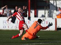 Goalkeeper James McKeown of Grimsby Town saves at the feet of Shay McCartan of Accrington Stanley <br /> during the Sky Bet League 2 match between Accrington Stanley and Grimsby Town at the Fraser Eagle Stadium, Accrington, England on 25 March 2017. Photo by Tony  KIPAX / PRiME Media Images.