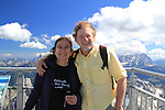 Beth and John on Mount Marmolada  in Dolomites Mountains, northern Italy, Europe.
