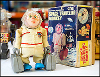 BNPS.co.uk (01202 558833)<br /> Pic: PhilYeomans/BNPS<br /> <br /> This very non-pc 'Space Traveling Monkey' actually dates from the late 1960's Apollo era.<br /> <br /> Take me to your leader - out of this world collection of rudimentary robots from the earliest days of sci-fi.<br /> <br /> The huge collection of over 500 classic sci-fi toys dates back to the 1950's and 60's and could now be worth a whopping &pound;30,000.<br /> <br /> The huge collection was started by a robot mad schoolboy in the 1950's as the Russian Sputnik satellite kick started the race for space and sparked huge interest in science fiction.<br /> <br /> The oldest items date from the late 1950's with models continuing all the way through to the 1990s with several classic favourites included.<br /> <br /> There are a number of lots related to TV classic Thunderbirds and a model of Robbie the Robot, who featured in the TV series Lost in Space and the film Forbidden Planet remains in terrific condition.