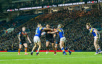 Picture by Allan McKenzie/SWpix.com - 23/03/2018 - Rugby League - Betfred Super League - Leeds Rhinos v Castleford Tigers - Elland Road, Leeds, England - A general view of Castleford playing Leeds at Elland Road as Junior Moors fends off Joel Moon and Ashton Golding.