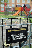 No alcohol sign on a park gate in Paddington, City of Westminster, London