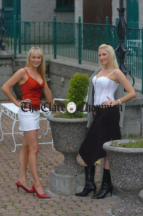 At the launch of Miss Clare at the West County Hotel were  last years winner Orla Coote with  one of this years competitors, Kristi.Photograph by John Kelly.