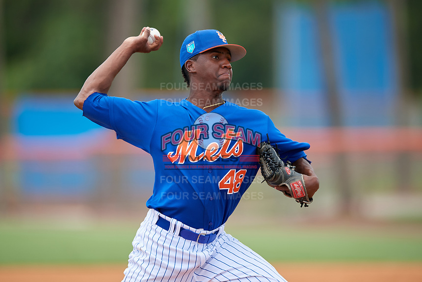 GCL Mets relief pitcher Ramon Guzman (48) delivers a pitch during a game against the GCL Marlins on August 3, 2018 at St. Lucie Sports Complex in Port St. Lucie, Florida.  GCL Mets defeated GCL Marlins 3-2.  (Mike Janes/Four Seam Images)