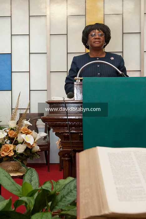 Patricia A. Singletary, pastor of the Elmendorf Reformed Church, poses in her church on East 121st street in Harlem, New York, USA, 9 September 2009.