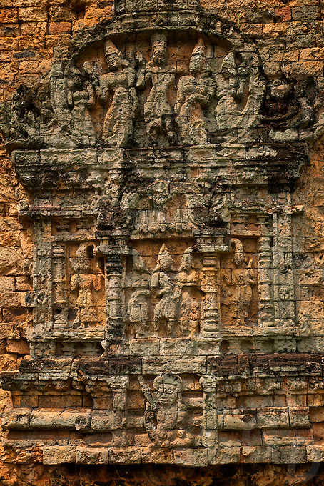 The Pre-Angkorian temple complex of Sambor Prei Kuk (Khmer:  is located about 30 kilometers to the north of the town of Kampong Thom, Cambodia. It was also known as Isanapura, and was the capital of the Chenla Kingdom.<br /> <br /> Located on the Eastern bank of Tonle Sap close to the Sen River, the central part of Sambor Prei Kuk is divided into three main groups. Each group is located in a square lay out surrounded by a brick wall. The structures of the overall archaeological area were constructed at variable times: the southern and north groups (7th century) by Isanavarman I, and the central group (later date). <br /> <br /> The buildings of Sambor Prei Kuk are characteristic of the Pre-Angkorean period with a simple external plan. The principal material is brick, but sandstone is also used for certain structures. Architectural features include numerous prasats, octagonal towers, shiva lingams and yonis, ponds and reservoirs, and lion sculptures. Sambor Prei Kuk is located amidst mature sub-tropical forests with limited undergrowth. The area has been mined and could still contain unexploded ordnance.