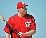 19 February 2011: Washington Nationals' pitcher Todd Coffey takes batting drills during Spring Training at the Carl Barger Baseball Complex in Viera, Florida. Mandatory Credit: Ed Wolfstein Photo