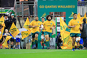 9th September 2017, nib Stadium, Perth, Australia; Supersport Rugby Championship, Australia versus South Africa; Australian Wallabies players run out for the start of the game against the Springboks