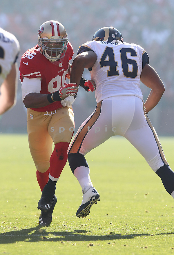 San Francisco 49ers Corey Lemonier (96) during a game against the St. Louis Rams on December 1, 2013 at Candlestick Park in San Francisco, CA. The 49ers beat the Rams 23-13.