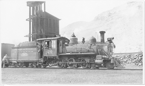 RGS #20 in Durango ready for a run to Dolores.  The tender is painted for a movie.<br /> RGS  Durango, CO  Taken by Kindig, Richard H. - 6/4/1951