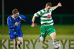 Killarney Celtic Peter McCarthy scores their first goal with a piledriver from twenty yards in John Doyle testimonial match in Celtic park on Friday night