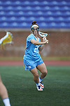 Gianna Bowe (21) of the North Carolina Tar Heels during first half action against the High Point Panthers at Vert Track, Soccer & Lacrosse Stadium on February 16, 2018 in High Point, North Carolina.  The Tar Heels defeated the Panthers 14-10.  (Brian Westerholt/Sports On Film)