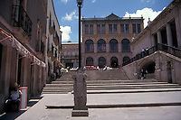 The Plazuela Francisco Goitia and 19th century Teatro Calderon in the city of Zacatecas, Mexico. The historic centre of Zacatecas is a UNESCO World Heritage site.