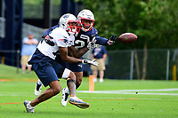 July 27, 2017: New England Patriots cornerback Kenny Moore II (42) blocks a pass to wide receiver Malcolm Mitchell (19) at the New England Patriots training camp held on the practice field at Gillette Stadium, in Foxborough, Massachusetts. Eric Canha/CSM