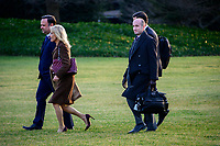 From left to right: White House Director of Social Media Dan Scavino, Senior Counselor Kellyanne Conway, and Senior Advisor for Policy Stephen Miller follow United States President Donald J. Trump to Marine One as he departs the White House in Washington,DC en route to Toledo, Ohio to deliver remarks at a Keep America Great Rally on Thursday, January 9, 2020. <br /> Credit: Ron Sachs / CNP/AdMedia