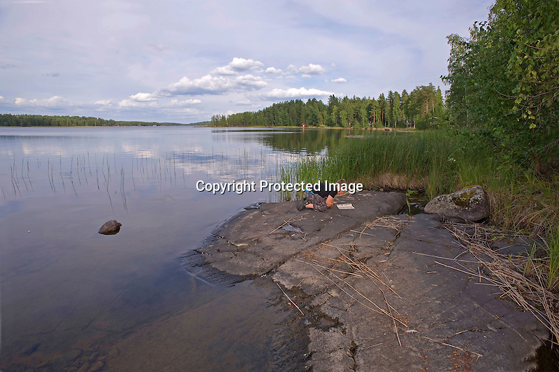 Young Boy Finding Time for Quiet Reading by the Lake in Summertime Finland