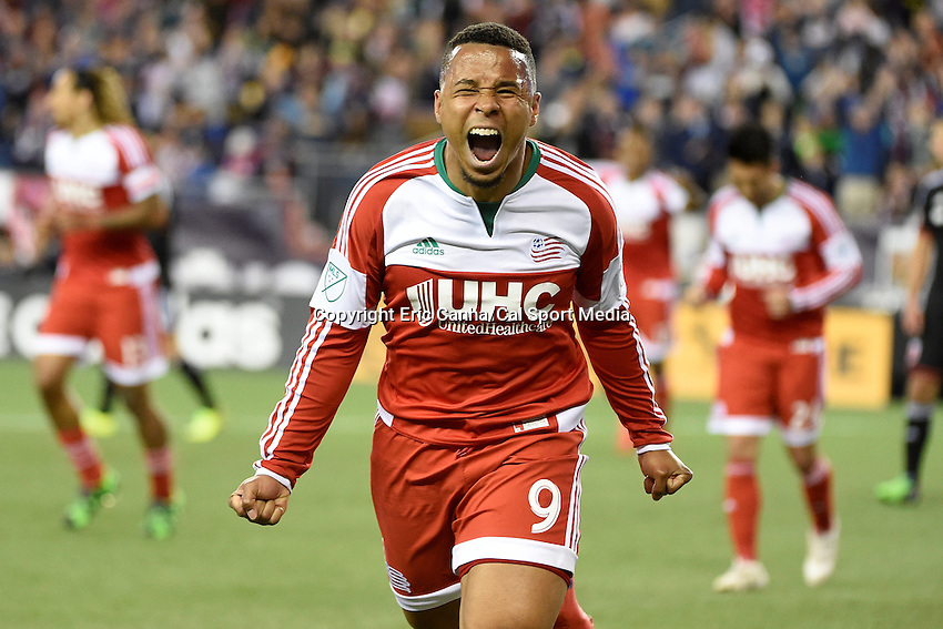 May 23, 2015 - Foxborough, Massachusetts, U.S. - New England Revolution forward Charlie Davies (9) reacts to his first half goal during the MLS game between DC United and the New England Revolution held at Gillette Stadium in Foxborough Massachusetts. Eric Canha/CSM
