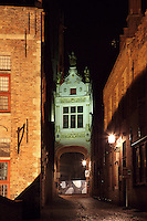 BRUGES, BELGIUM - FEBRUARY 06 : A view of the Chancellery by night on February 06, 2009 in Bruges, Western Flanders, Belgium. Seen from the narrow street separating the Chancellery from the Town Hall, the bright Fine Renaissance style facade is contrasting with the darkness of the street. It was built during the first half of the 16th century and was housing the Law Courts until 1983. (Photo by Manuel Cohen)