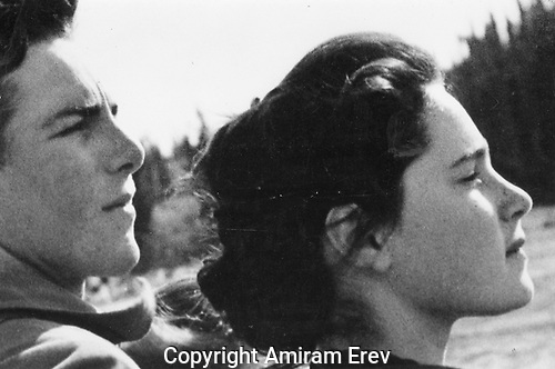 Two close-cropped heads of dancers. Mood of quiet determination, 1949