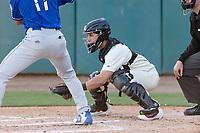 Visalia Rawhide catcher Renae Martinez (9) during a California League game against the Rancho Cucamonga Quakes on April 9, 2019 in Visalia, California. Visalia defeated Rancho Cucamonga 8-5. (Zachary Lucy/Four Seam Images)