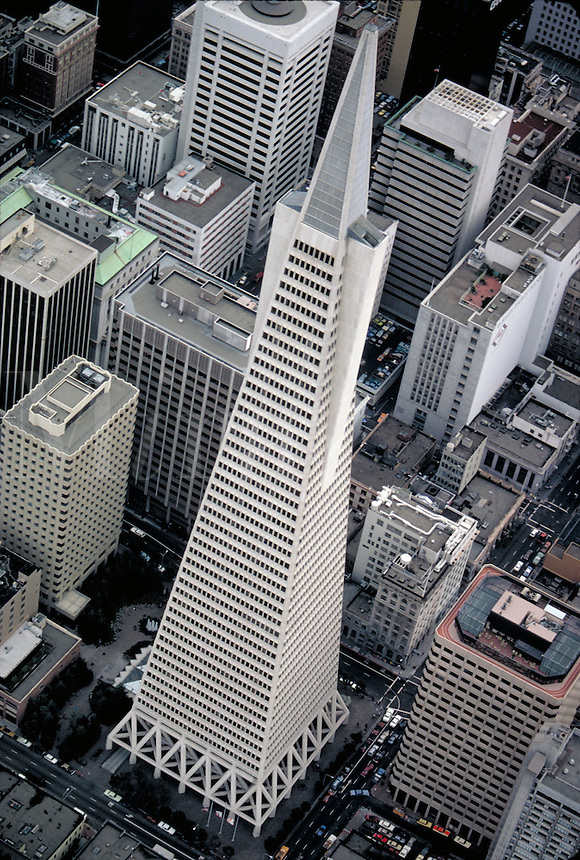 Aerial view of the Transamerica Tower. skyline, cityscape. San Francisco California.