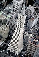 Aerial view of the Transamerica Tower. skyline, cityscape. San Francisco California.