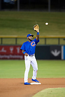 AZL Cubs second baseman Delvin Zinn (21) on defense during a game against the AZL Brewers on August 6, 2017 at Sloan Park in Mesa, Arizona. AZL Cubs defeated the AZL Brewers 8-7. (Zachary Lucy/Four Seam Images)