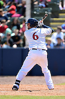 Huntsville Stars second baseman Greg Hopkins (6) at bat during a game against the Mobile BayBears on April 23, 2014 at Joe Davis Stadium in Huntsville, Tennessee.  Huntsville defeated Mobile 4-1.  (Mike Janes/Four Seam Images)