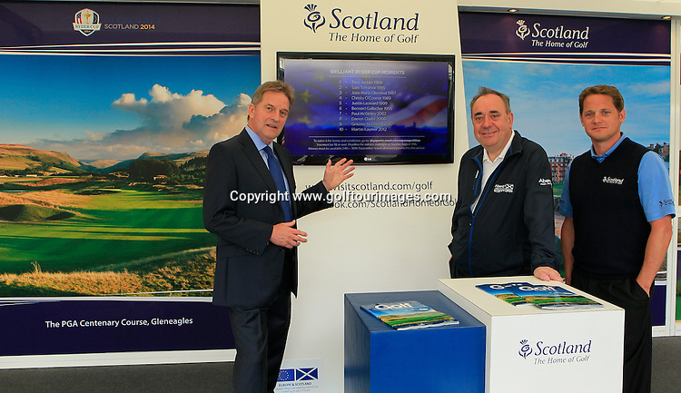 Scotland's First Minister, The Rt Hon Alex Salmond MSP together with Sky Sport's lead golf presented, David Livingstone and Robbie Clyde, Ryder Cup Project Director launch the Ryder Cup Brilliant Moments campaign between Visit Scotland and Sky Sports. <br /> The launch took place at the 2014 Aberdeen Asset Management Scottish Open being played over the Balgownie Links, Royal Aberdeen Golf Club, Aberdeen from10th to 13th July 2014: Picture Stuart Adams www.golftourimages.com: 9th July 2014