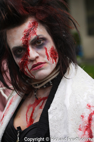 A female zombie in the Montreal zombie walk in downtown Montreal