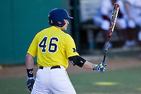 Michigan Wolverines catcher Cole Martin (46) at bat during the NCAA season opening baseball game against the Texas State Bobcats on February 14, 2014 at Bobcat Ballpark in San Marcos, Texas. Texas State defeated Michigan 8-7 in 10 innings. (Andrew Woolley/Four Seam Images)