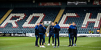 Bolton Wanderers' players inspecting the pitch before the match <br /> <br /> Photographer Andrew Kearns/CameraSport<br /> <br /> The EFL Sky Bet League One - Rochdale v Bolton Wanderers - Saturday 11th January 2020 - Spotland Stadium - Rochdale<br /> <br /> World Copyright © 2020 CameraSport. All rights reserved. 43 Linden Ave. Countesthorpe. Leicester. England. LE8 5PG - Tel: +44 (0) 116 277 4147 - admin@camerasport.com - www.camerasport.com