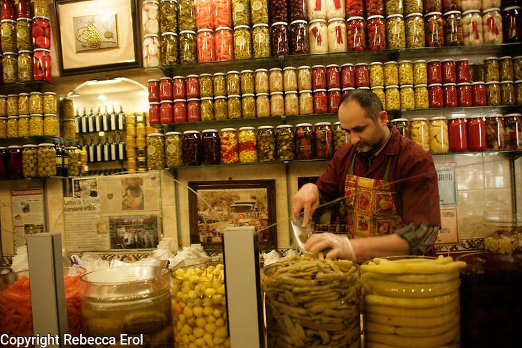 Shop selling pickles of every sort, Beyoglu, Istanbul, Turkey