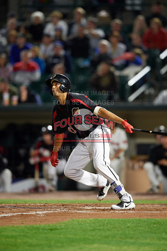 Rochester Red Wings third baseman Leonardo Reginatto (11) flies out during a game against the Buffalo Bisons on August 25, 2017 at Frontier Field in Rochester, New York.  Buffalo defeated Rochester 2-1 in eleven innings.  (Mike Janes/Four Seam Images)