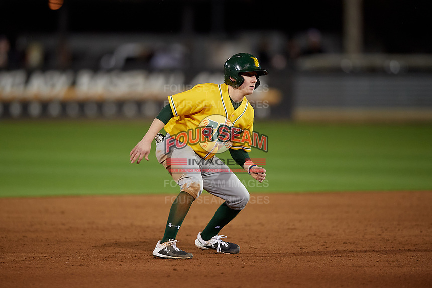 Siena Saints Devan Kruzinski (12) leads off during a game against the UCF Knights on February 14, 2020 at John Euliano Park in Orlando, Florida.  UCF defeated Siena 2-1.  (Mike Janes/Four Seam Images)