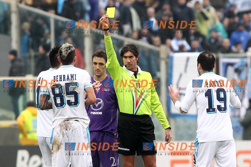 "arbitro Mauro Bergonzi ammonisce Valon Beherami Napoli.Firenze 20/01/2013 Stadio ""Franchi"".Football Calcio Serie A 2012/13.Fiorentina v Napoli.Foto Insidefoto Paolo Nucci."