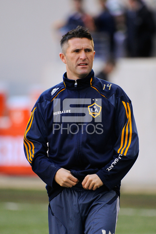 Robbie Keane (14) of the Los Angeles Galaxy during warmups prior to the 1st leg of the Major League Soccer (MLS) Western Conference Semifinals against the New York Red Bulls at Red Bull Arena in Harrison, NJ, on October 30, 2011.