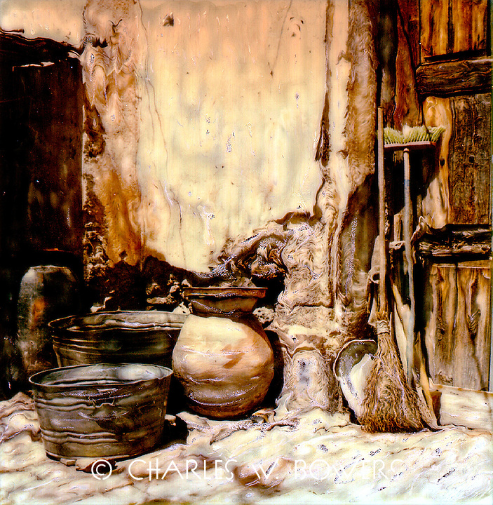 Pots, tubs, brooms and pans sit waiting for their next duty.<br />