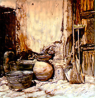 Pots, tubs, brooms and pans sit waiting for their next duty.<br /> <br /> -Limited Edition of 50 Prints