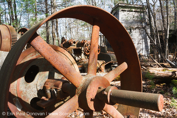 Machinery at the Redstone Granite quarry in Conway, New Hampshire.This abandoned quarry opened in the late eighteen hundreds and closed in the nineteen forties. The granite harvested from this quarry can still be found in buildings and monuments throughout New England.