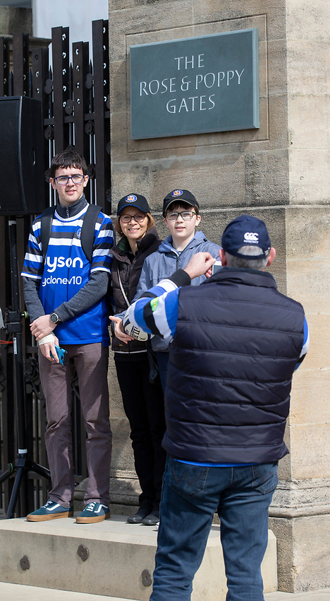Bath fans enjoying the pre match atmosphere<br /> <br /> Photographer Bob Bradford/CameraSport<br /> <br /> Gallagher Premiership - Bath Rugby v Bristol Bears - Saturday 6th April 2019 - The Recreation Ground - Bath<br /> <br /> World Copyright © 2019 CameraSport. All rights reserved. 43 Linden Ave. Countesthorpe. Leicester. England. LE8 5PG - Tel: +44 (0) 116 277 4147 - admin@camerasport.com - www.camerasport.com