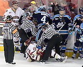 Jeff Bunyon, Isaac MacLeod (BC - 7), Joey Diamond (Maine - 39), Chris Aughe, Joe Whitney (BC - 15), Mike Banwell (Maine - 4), Bryan Goodwin, Mike Cornell (Maine - 2), - The Boston College Eagles defeated the visiting University of Maine Black Bears 4-0 on Friday, November 19, 2010, at Conte Forum in Chestnut Hill, Massachusetts.