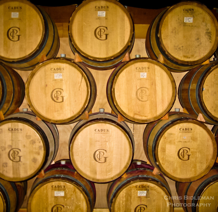 oak wine barrels. oak wine barrels stacked in a winery aging the red willamette valley
