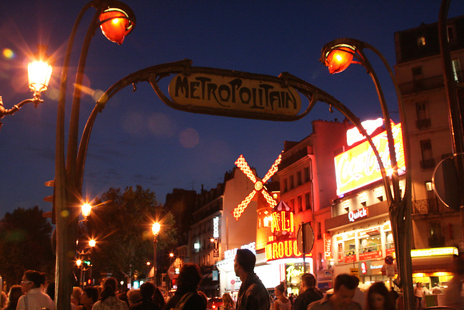 Metro stop in Pigalle quarter. Paris, France. July 26, 2007.