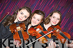 Christine O'Sullivan Tralee, Ciara Holmes Tralee and Aoife Grimes Ardfert playing violin at the Kerry School of Music 30th anniversary gala concert in the Malton Hotel Killarney on Sunday night ..