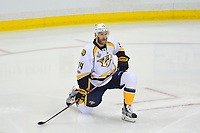 May 29, 2017: Nashville Predators defenseman Mattias Ekholm (14) stretches before game one of the National Hockey League Stanley Cup Finals between the Nashville Predators  and the Pittsburgh Penguins, held at PPG Paints Arena, in Pittsburgh, PA. Pittsburgh defeats Nashville 5-3 in regulation time.  Eric Canha/CSM