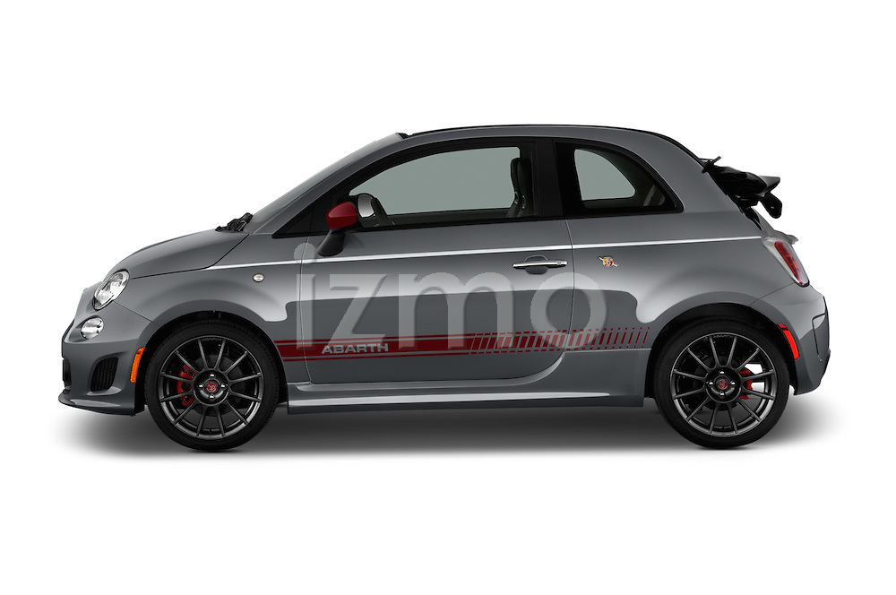 Car Driver side profile view of a 2016 Fiat 500c Abarth-Cabrio 2 Door Convertible Side View
