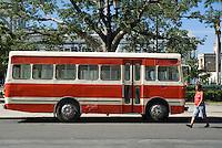 Public bus parked along Parque Jose Marti, Cienfuegos, Cuba.