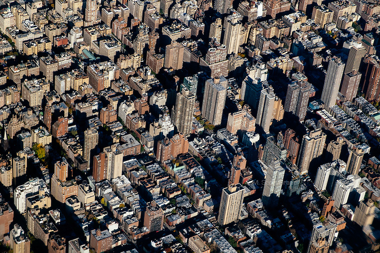 An aerial view of Manhattan buildings in New York, New York.