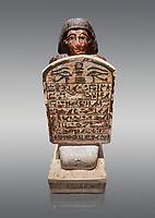 Ancient Egyptian Stelophorus statue of Amenemipet, limestone, New Kingdom, 18th Dynasty, (1539-1292 BC), Deir el Medina, tomb of Ibu. Egyptian Museum, Turin. Cat 3038. Grey background