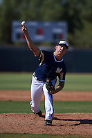 Milwaukee Brewers pitcher Jacob Barnes (47) during an instructional league game against the Cleveland Indians on October 8, 2015 at the Maryvale Baseball Complex in Maryvale, Arizona.  (Mike Janes/Four Seam Images)
